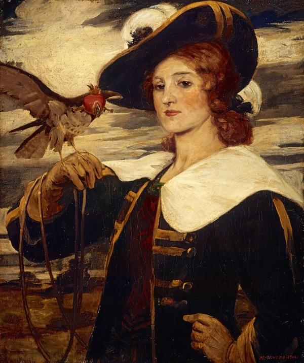 A Girl with a Hawk (Dated 1901)