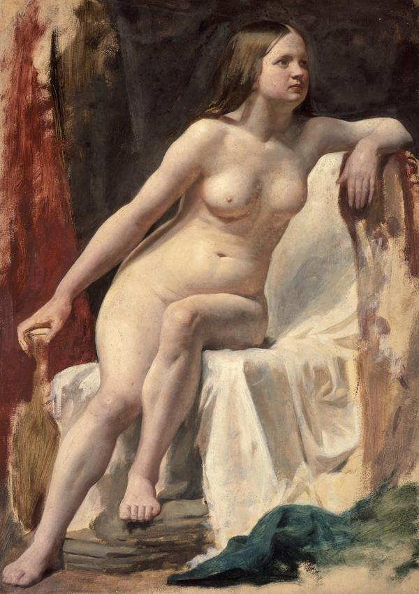 A Life Study of a Female Nude Model Seated on White Drapery (About 1854)