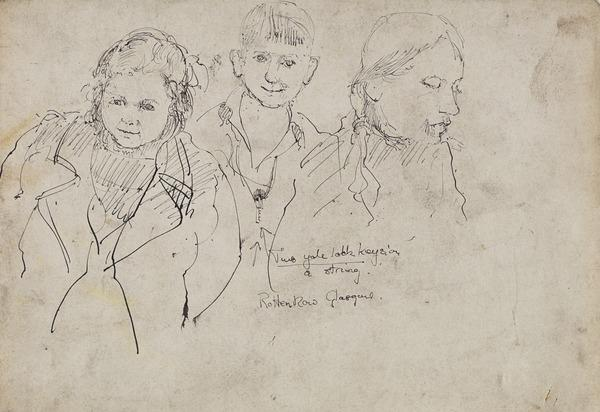 Two Girls and a Boy [verso: Two Heads and a Hand]
