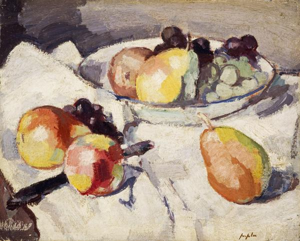 Still Life, Pears and Grapes [verso: Flowers (unfinished)] (About 1930)