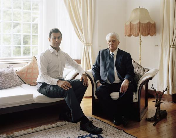 Muhammed Tufail Shaheen MBE with his Grandson, Glasgow, 29 May 2011. From A Scottish Family Portrait series (2011)