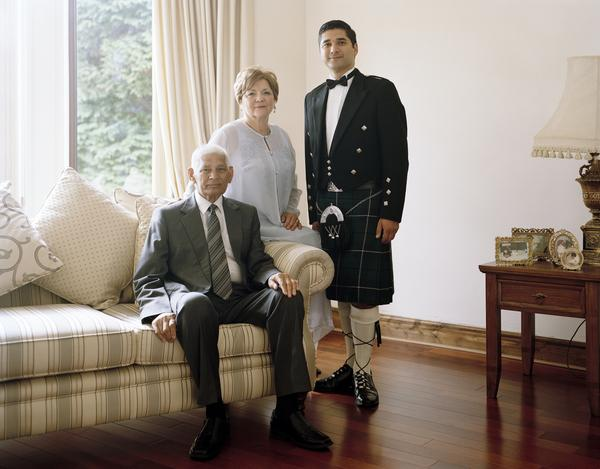Faroque Hussain with his Parents, Clydebank, 24 June 2011. From A Scottish Family Portrait Series (2011)