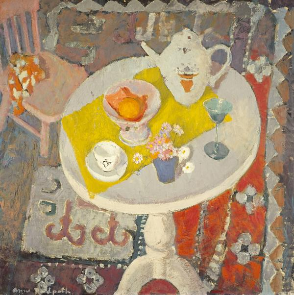 Still Life with Teapot on Round Table [verso: Still Life with Milk Bottle] (About 1945 [verso about 1945])