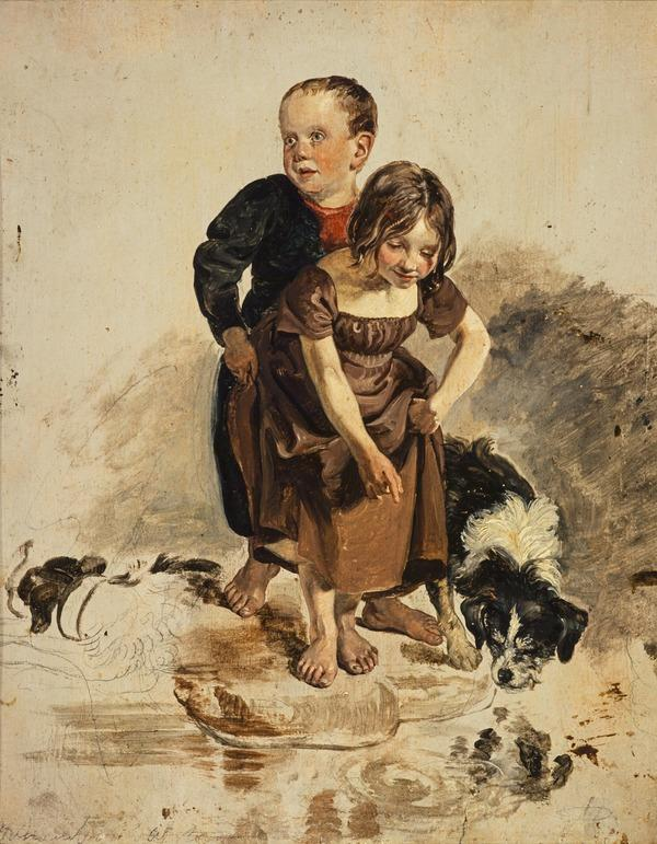 A Boy and a Girl with a Collie Dog Standing by a Stream (study for 'The Covenanters' Baptism') (1830)