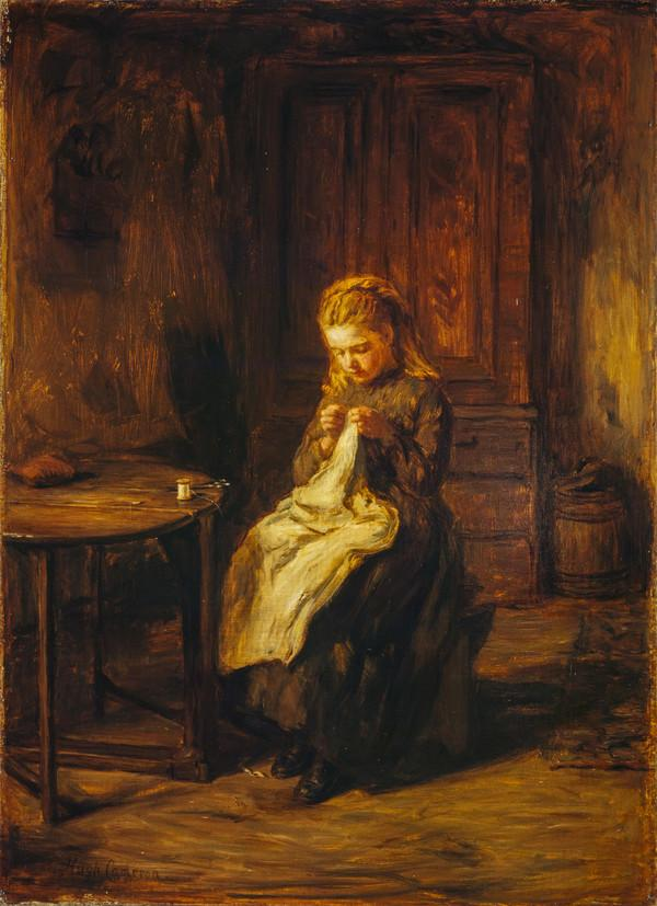 A Girl Sewing (late 1860s / 1870s)