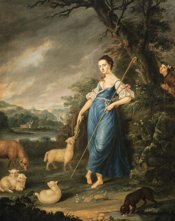 A Shepherdess Spied upon in a Landscape (Dated 1760)