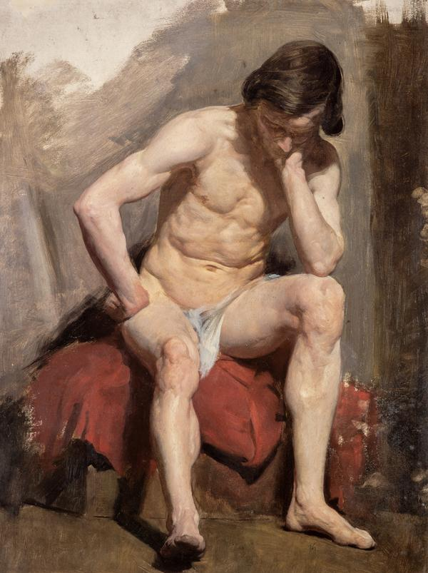 A Life Study of a Seated Nude Male Model (1850s)