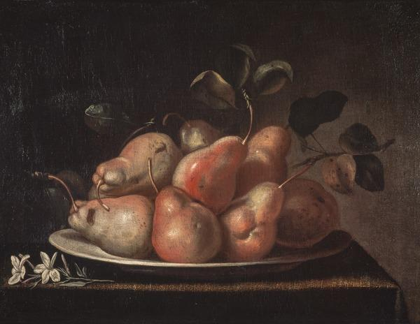 Still Life with Dish of Pears and a Sprig of Jasmine Blossom on a Ledge (About 1650)