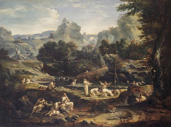 Landscape with Monks (Probably painted about 1705)