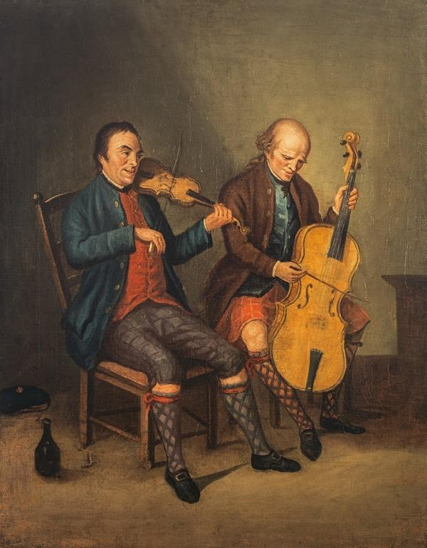 Niel Gow, 1727 - 1807. Violinist and composer (With his brother Donald Gow, fl. c 1780. Cellist) (About 1780)