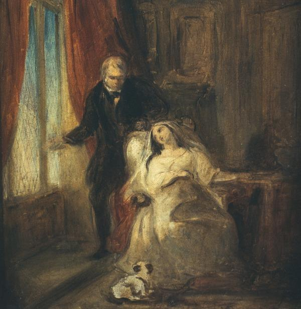 Sir Walter Scott with one of his daughters (About 1826)
