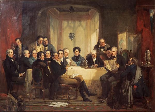 Sir Walter Scott and his friends at Abbotsford (Painted 1849)
