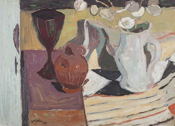 Still Life, Goblet, White Jug and Honesty (Dated 1952)