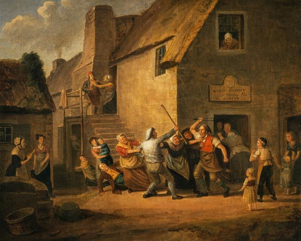 A Brawl outside an Ale House (Dated 1822)