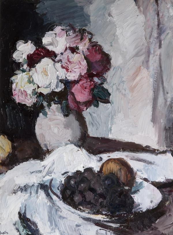 Roses in a Grey Jar [verso: Iona Landscape] (About 1933)