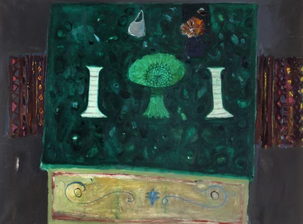 Candlesticks on Green Table (Dated 1963)