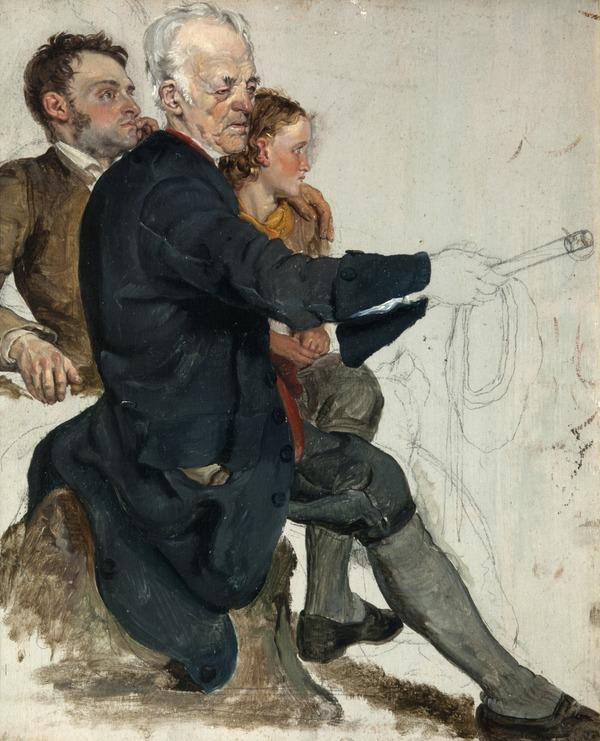 Two Seated Men and a Standing Boy (study for 'The Covenanters' Baptism') (1830)