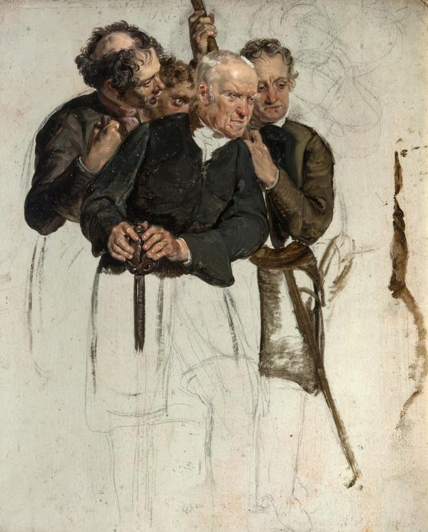 Four Standing Men (study for 'The Covenanters' Baptism') (1830)