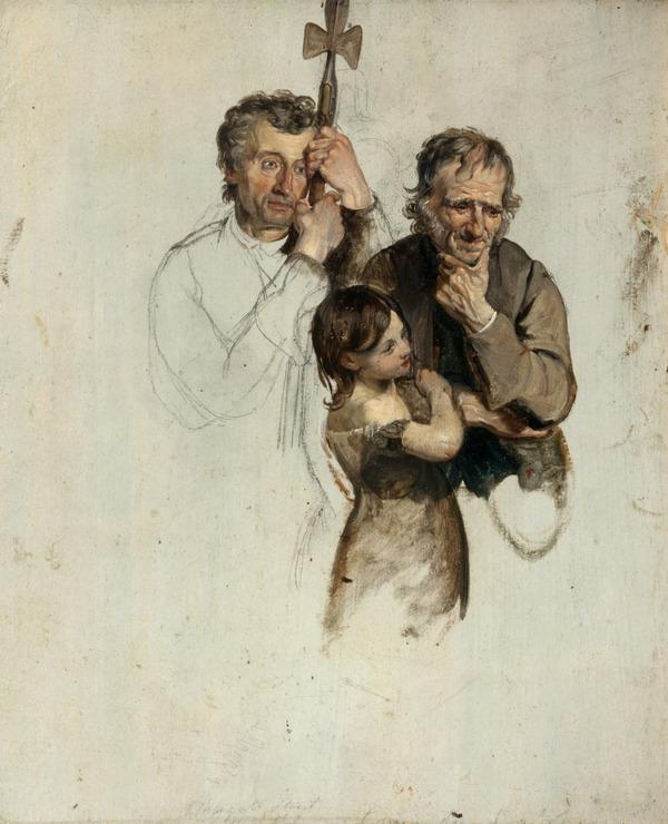 Two Men and a Girl Standing (study for 'The Covenanters' Baptism') (1830)