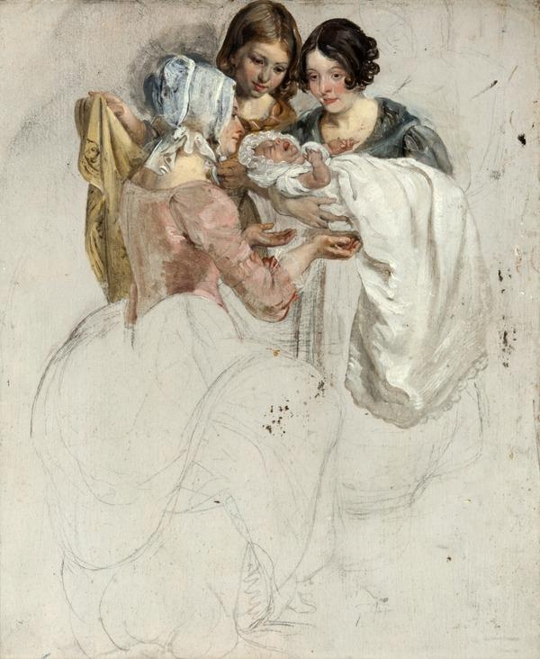 A Girl and Two Women, Standing and Holding a Baby (study for 'The Covenanters' Baptism') (1830)