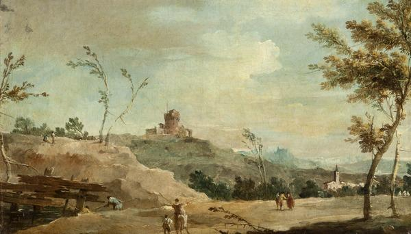 Hilly Landscape with a Ruined Tower (About 1770 - 1780)