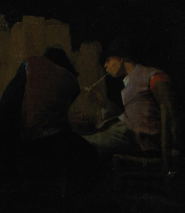 Two Peasants Smoking by a Fire ('Silent Companions') (17th century)