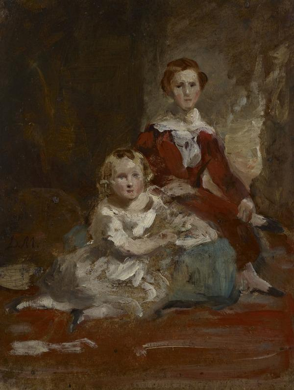 A Portrait Study of Two Children in a Landscape (Reverse: Study of a Young Man in an Interior)