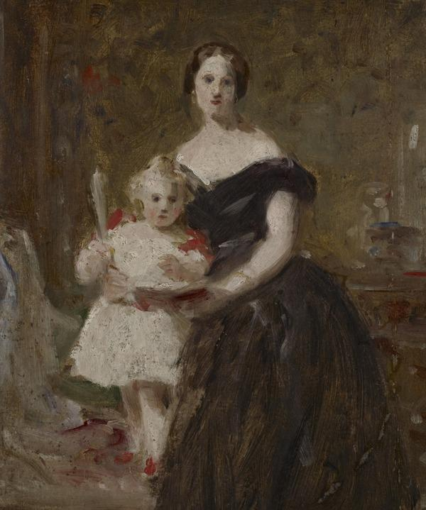 A Portrait Study of a Lady and a Child in an Interior