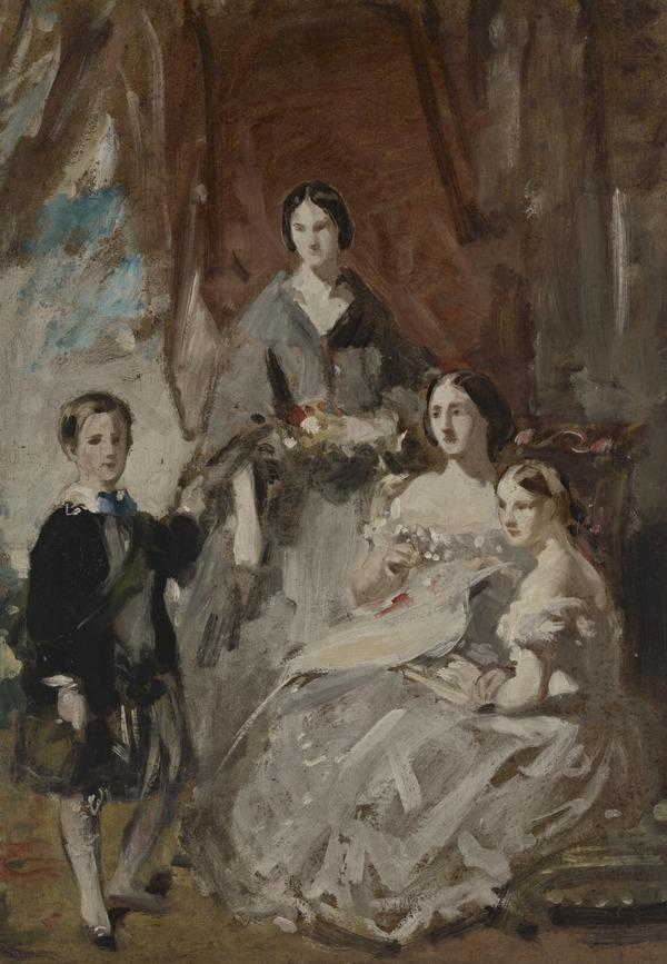 A Portrait Study of Three Ladies and a Boy in Highland Dress in an Interior