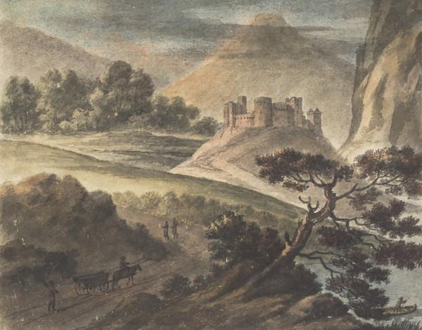 Mountainous Landscape with a Castle and Figures (Dated 1784)