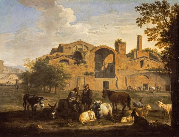 Landscape with Herdsmen and Animals in front of the Baths of Diocletian, Rome ()