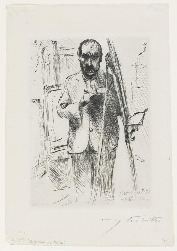 Selbstbildnis an der Staffelei [Self-Portrait at the Easel] (1918)