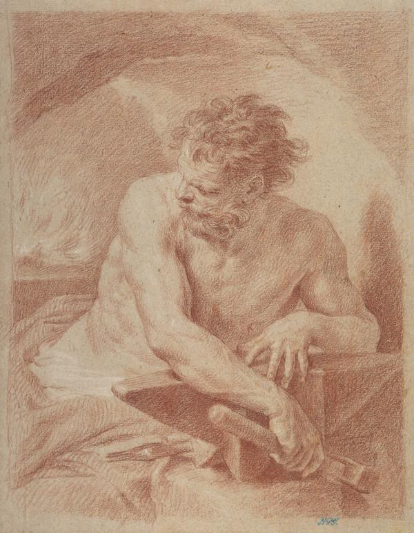 Vulcan in his Forge. Copy after a Painting by Pompeo Batoni (Dated 1755 on the verso)