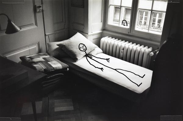 Untitled (black and white bed photo) (1997)