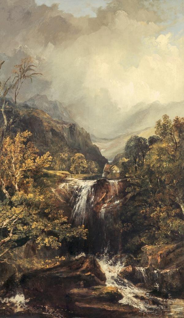 Highland Landscape with a Waterfall (About 1835)