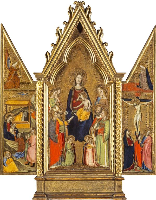 Triptych. Centre: The Virgin and Child Enthroned. Left wing: The Nativity; The Angel of the Annunciation. Right wing: The Crucifixion; The Virgin... (14th century)