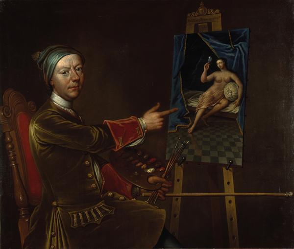 Richard Waitt, died 1733. Portrait painter (Self-portrait) (1728)