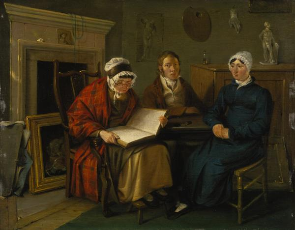 Alexander Carse, about 1770 - 1843. Artist (Self-portrait) (Probably Alexander Carse with his mother and sister)