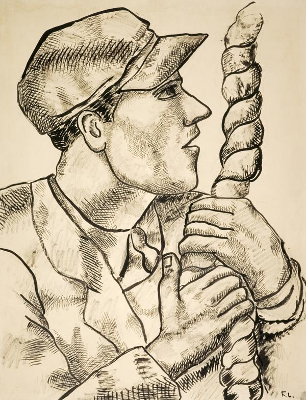 Le Profil à la corde: étude pour 'Les Constructeurs' [Man in Profile with Rope: Study for 'The Constructors'] (1950 or 1951)