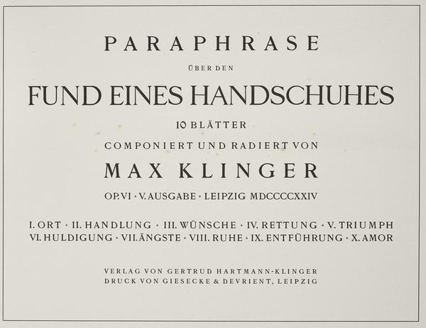 Titlepage from the series 'On the Finding of a Glove' (First published 1881 (this 5th edition 1924))