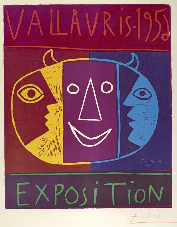 Exposition Vallauris, 1956 (bull head in centre, divided into three parts) (1956)