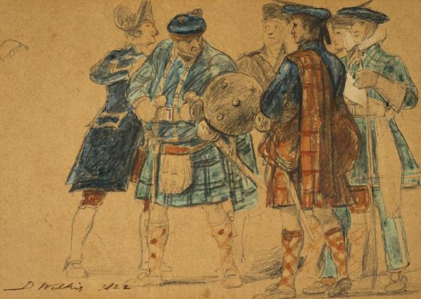 An incident during the visit of George IV to Edinburgh 1822. Group of six unidentified figures including two in Highland dress and one in the... (1822)