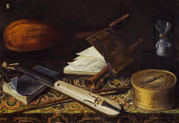 Still-life with Musical Instruments (Reverse: A Man's Head (unfinished)) (1650)