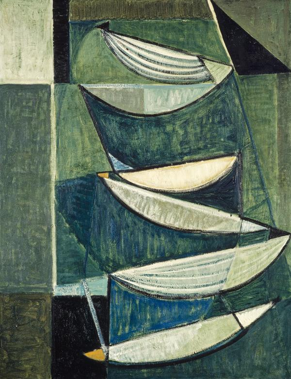 Black and White Movement on Blue and Green II (1951 / 1952)