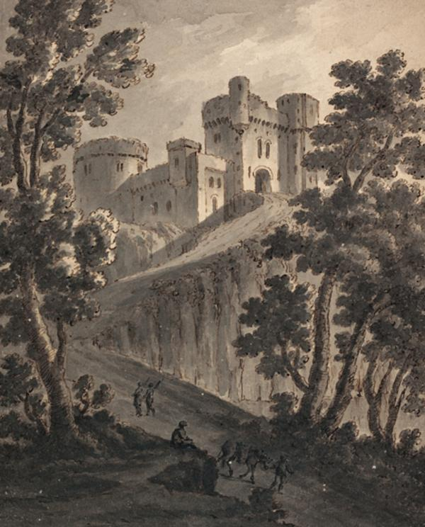 Landscape with a Large Castle and Figures on a Road (About 1780)