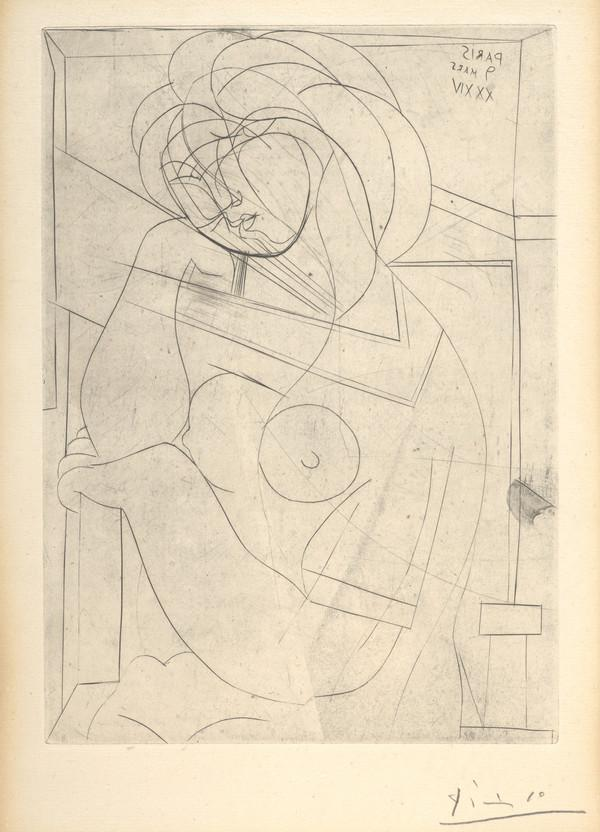 Femme au fauteuil songeuse [ Woman in an Armchair Dreaming (plate 21 from The Vollard Suite) ] (1934)