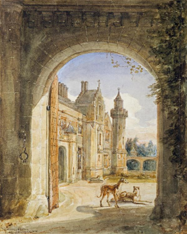 The Facade of Abbotsford, the Home of Sir Walter Scott, seen through the Entrance Gate. Study for the Engraving to Lockhart's 'Memoirs of the... (Dated 1832)