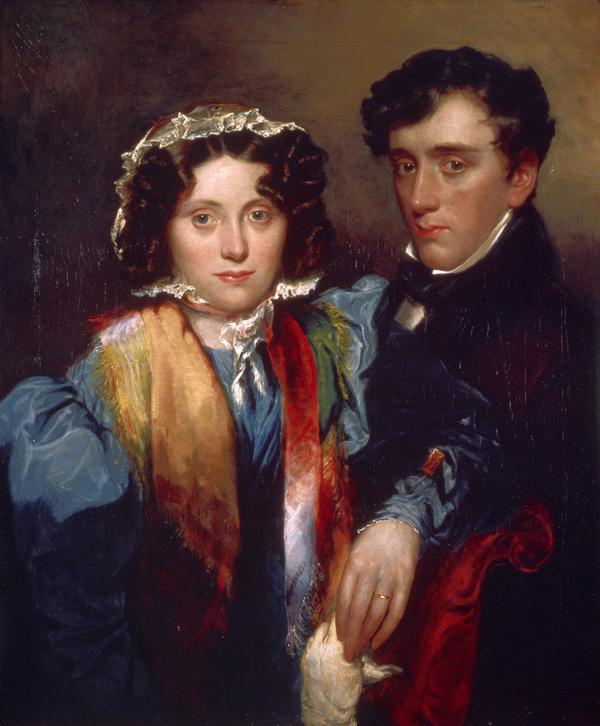 John Gibson Lockhart, 1794 - 1854, and Charlotte Sophia Scott, Mrs Lockhart, 1799 - 1837 (post-humous likeness). Son-in-law and biographer of Scott (after 1838)