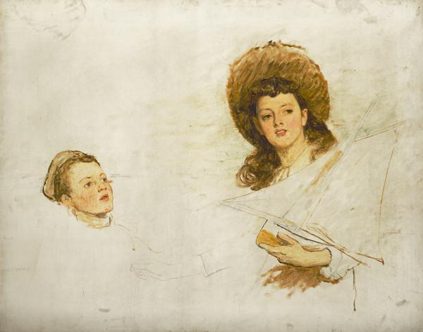 Study of the Artist's daughter Hilda Orchardson (born 1875) and one of her younger brothers (Probably late 1880s)