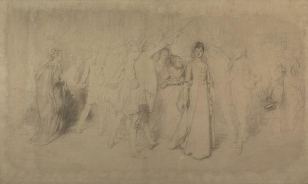Large Scale Study for the Painting 'The Queen of Swords' (About 1876)